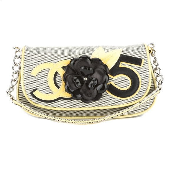 a0793893f1ea34 CHANEL Handbags - Chanel Yellow/ Gray Canvas No.5 Camellia Pochette